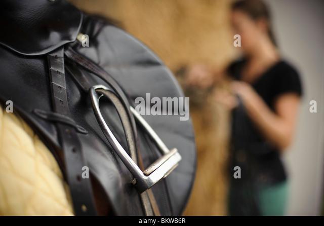 Closeup on saddle - Stock Image
