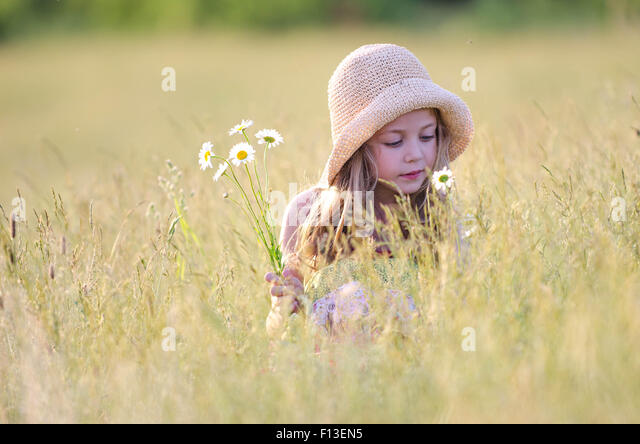 Girl picking wildflowers in meadow - Stock Image