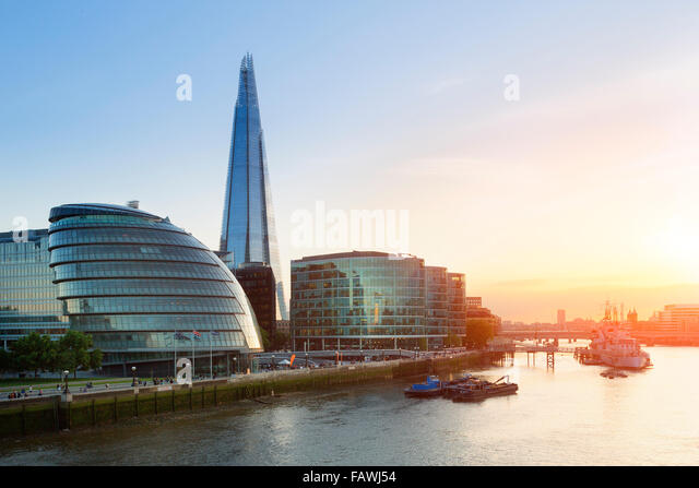 London, The shard and city hall at sunset - Stock Image