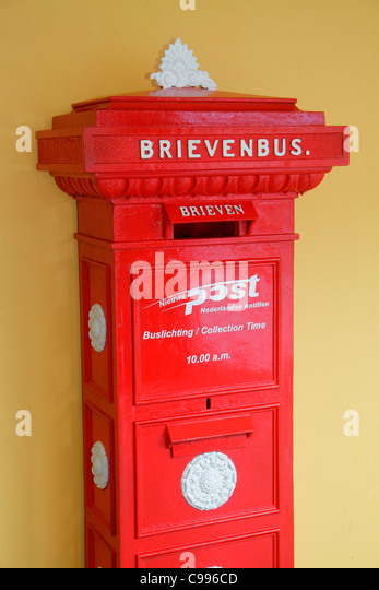 Curaçao Netherlands Antilles Dutch Curacao Hato International Airport mailbox letter box correspondence post - Stock Image