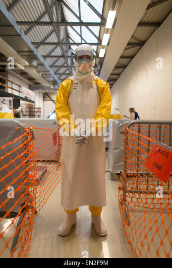 practical training centre in Amsterdam for MSF staff to be trained in EBOLA protocols. The most important protocols - Stock Image