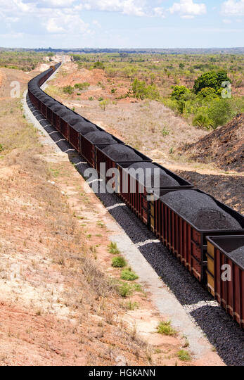 Coal train in Mozambique - Stock Image