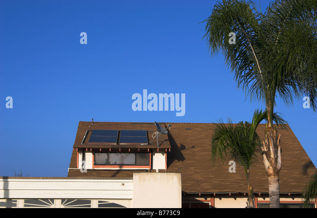 Residential solar heaters, San Diego, California - Stock Image