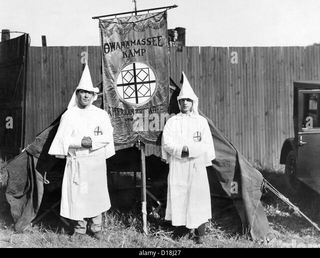 First arrivals of the Ku Klux Klan have set up their tent on the outskirts of Washington, DC. They will hold their - Stock Image