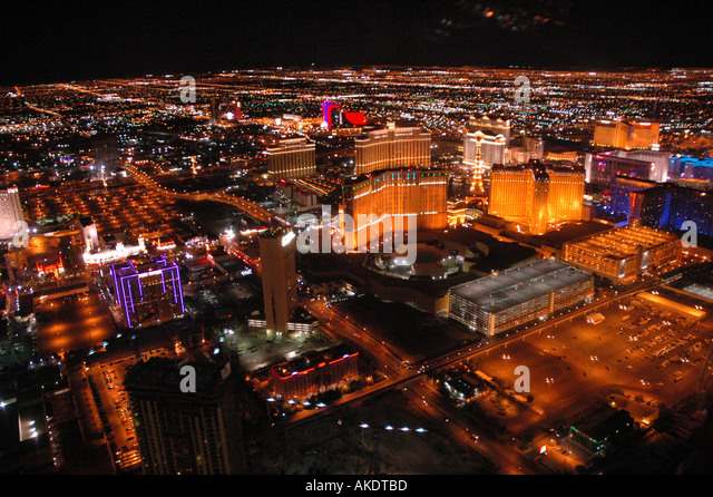 Las Vegas Nevada Strip at Night Seen from a Helicopter Aerial Photography - Stock Image