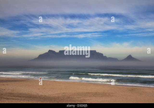 View of famous Table Mountain in Cape Town, South Africa - Stock Image