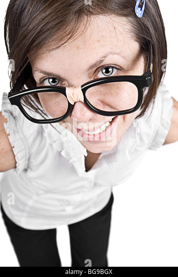 Shot of a Cute Nerdy Female in Thick Rimmed Glasses - Stock Image
