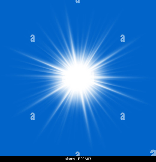 Close to the sun on a blue background. - Stock-Bilder