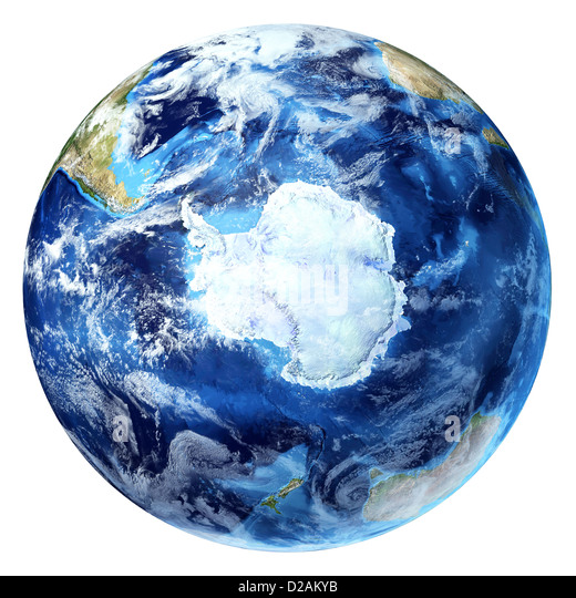 Earth globe, realistic 3 D rendering, with some clouds. Antarctic (south pole) view. On white background. - Stock Image