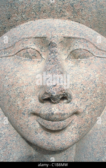 Egypt, Cairo, Antiquity museum, garden, Hathor head goddess in likings of Aswan - Stock-Bilder