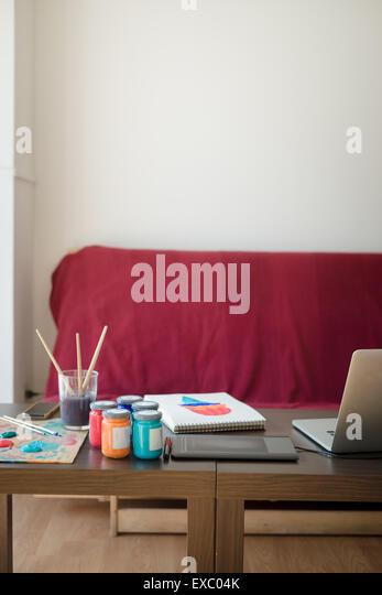 modern artist painter illustrator designer studio at home - Stock Image