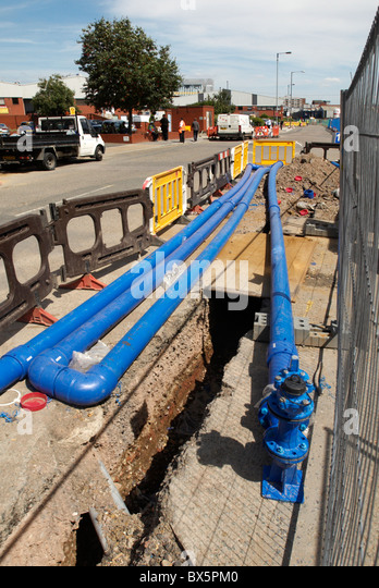 Replacing water pipes West London UK - Stock Image