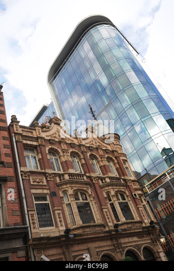 Old and new architecture in Birmingham England Uk - Stock Image