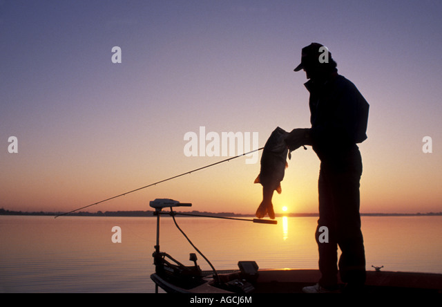 Largemouth bass fishing sunrise angler holding trophy bass and rod silhouette - Stock Image