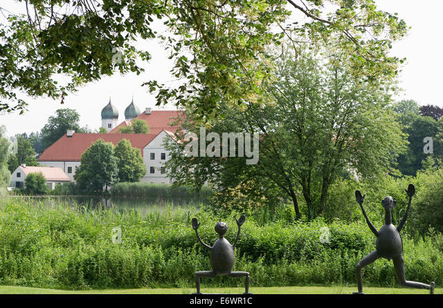 Sculptures by artist Heinrich Kirchner near Seeon Monastery, Seeon, Chiemgau, Upper Bavaria, Bavaria, Germany - Stock Image