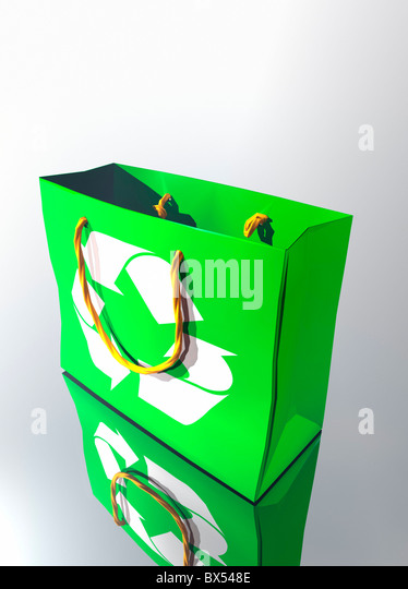Reusable shopping bag, artwork - Stock Image