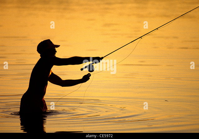 Fly Fisherman in the Florida Keys. - Stock Image