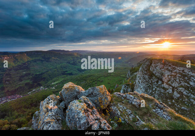 Sunset near Hautepierre le Chatelet in Franche Compte. - Stock Image