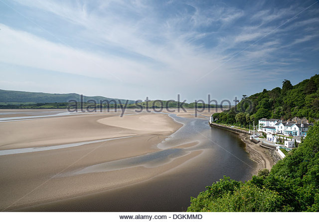Landscape view along beach at Portmeirion village in North Wales on a summer day. - Stock Image