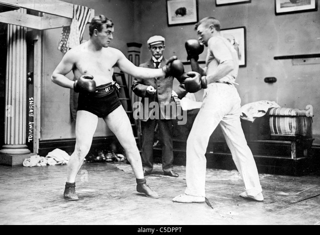 Tommy Burns, left, born Noah Brusso, Canadian born world heavyweight champion boxer - Stock Image