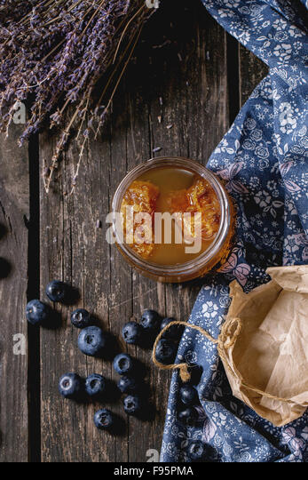 Honey, blueberries and lavender - Stock Image
