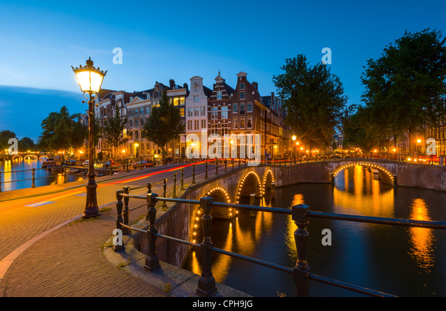 Kaizersgracht at dusk Amsterdam, Netherlands, Holland - Stock Image