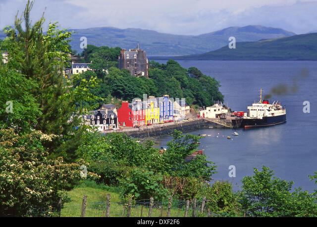 Archive image of the M.V.Columba at Tobermory pier, Isle of Mull, Argyll. - Stock-Bilder