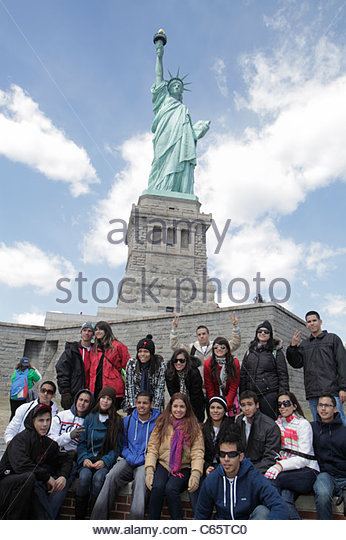 New York New York City NYC Upper Bay Statue Cruises Statue of Liberty National Monument Liberty Island freedom symbol - Stock Image