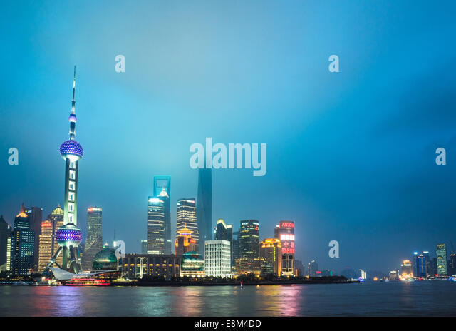 Skyline of shanghai the bund at night, landmark of China. - Stock Image