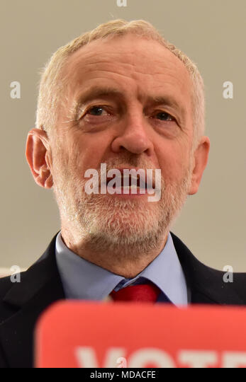 "London, United Kingdom. 19 April 2018. Jeremy Corbyn, leader of the Labour Party and John Healey MP, Shadow Housing Secretary, launch the Labour party's Social Housing review and Green Paper consultation - ""Housing for the Many"". Pictured: Jeremy Corbyn Credit: Peter Manning/Alamy Live News - Stock Image"