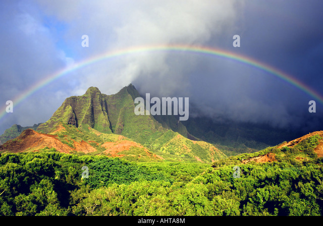 kalalau valley rainbow,kauai,hawaii - Stock Image