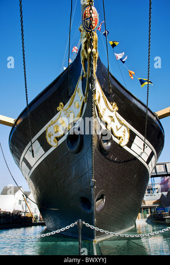 Prow of Brunel's first ocean liner SS Great Britain in dry dock at Bristol's floating harbour - Stock Image
