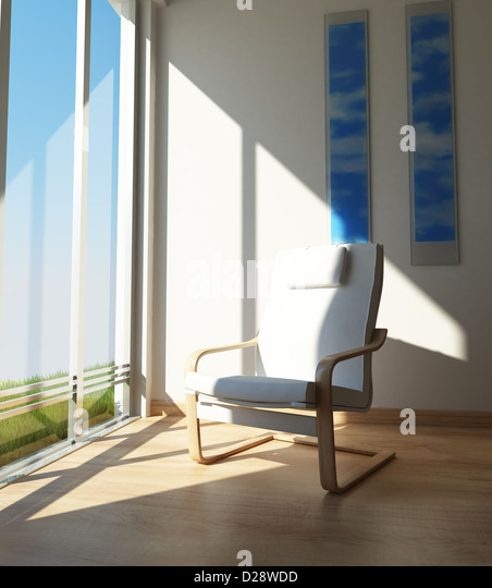 Interiors. Contemporary Chair on a room corner, besides a large window in the sun. - Stock Image