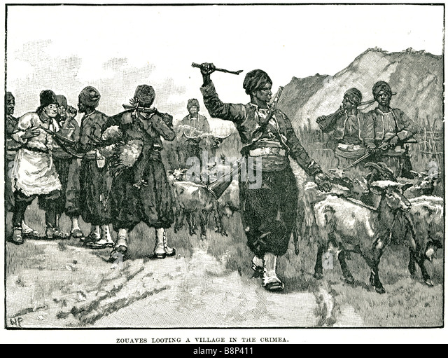 zouaves looting a village in the crimea Crimean War  infantry regiments French army - Stock Image