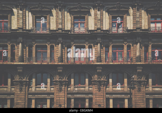 Mexico, Mexico City, Facade of houses - Stock Image
