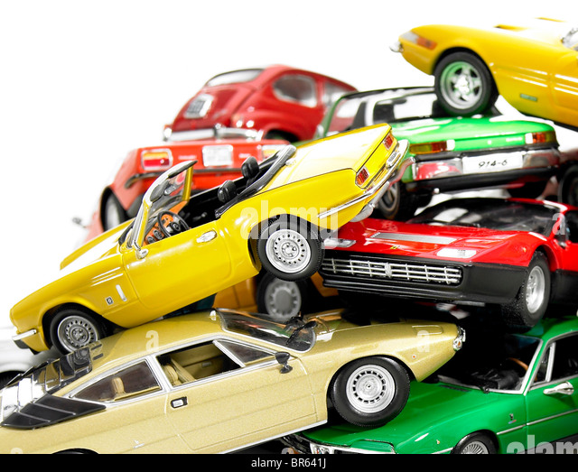 close up, pile of miniature model cars. - Stock Image