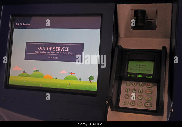 Out of Service,Self-service rail ticket machine, Warrington Station, Cheshire, England - Stock Image