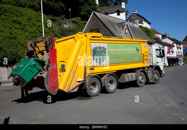 Food waste recycling lorry collecting hotel food waste Lynmouth Devon UK - Stock Image