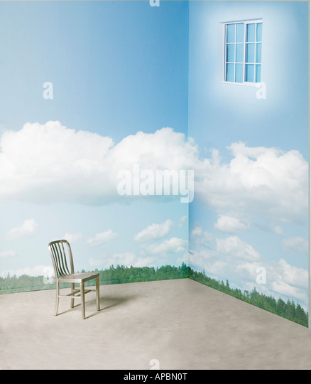 lone chair in corner of room with surreal window and clouds on wall day dream daydream imagination - Stock-Bilder