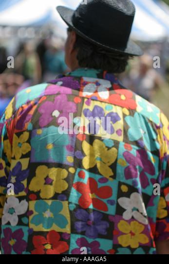 Florida, Zydeco Festival, Cajun, man, shirt, hat, - Stock Image