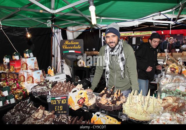 Italian chocolate stall Durham City food festival, north east England, UK - Stock Image