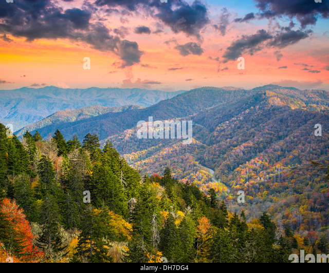 Autumn morning in the Smoky Mountains National Park. - Stock Image