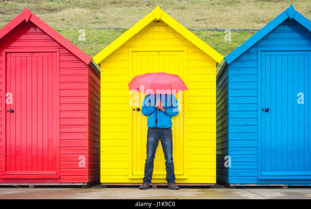 Whitby, North Yorkshire, England, UK. 22nd Apr, 2017. Weather: Early morning rain clearing on a chilly Saturday - Stock Image