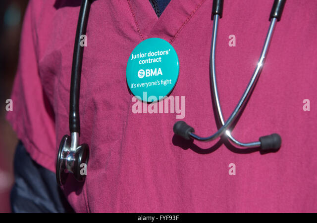 Junior doctors on the picket line outside St Thomas' hospital on Westminster Bridge.Detail of a doctors' - Stock Image