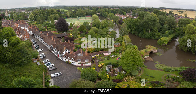 Aerial view from Warwick Castle - Stock Image