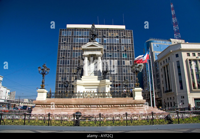Monument to Naval Heroes of Iquique in Valparaiso Chile - Stock Image