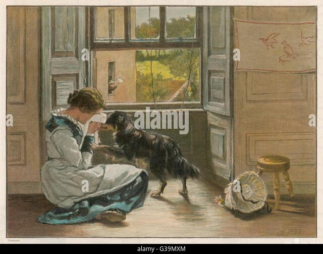 A weeping girl attracts  the sympathy of her dog         Date: 1886 - Stock Image