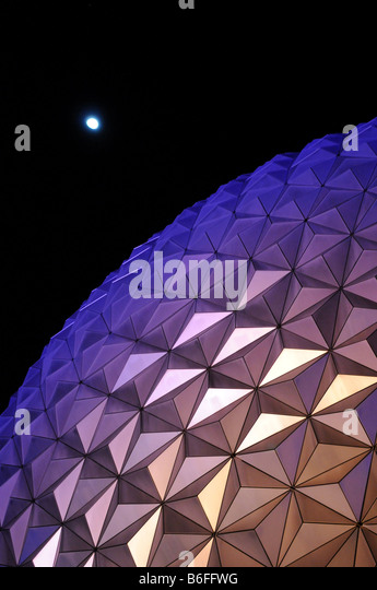 Epcot Center at night with moon in the background in Orlando Florida - Stock Image