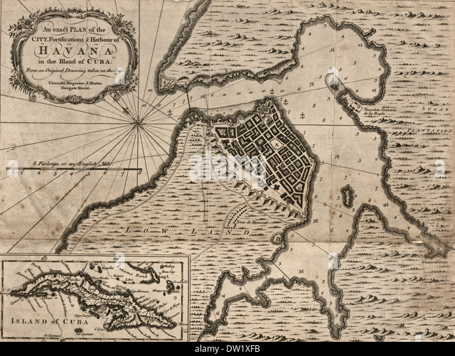 An exact plan of the city, fortifications & harbour of Havana in the island of Cuba - 1762 - Stock Image