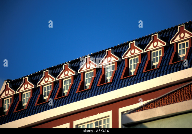 Curacao Willemstand line of windows architecture - Stock Image